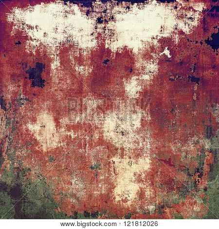 Ancient texture or damaged old style background with vintage grungy design elements and different color patterns: brown; green; red (orange); purple (violet); white