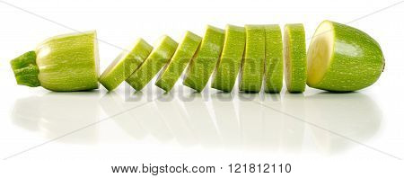 Sliced Zucchini Isolated On A White Background