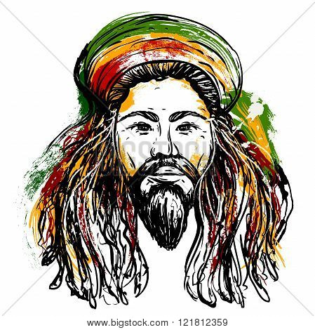 Portrait of rastaman. Jamaica theme. Reggae concept design. Tattoo art. Hand drawn grunge style art. Retro banner, card, t-shirt, bag, print, poster.Vintage colorful hand drawn vector illustration