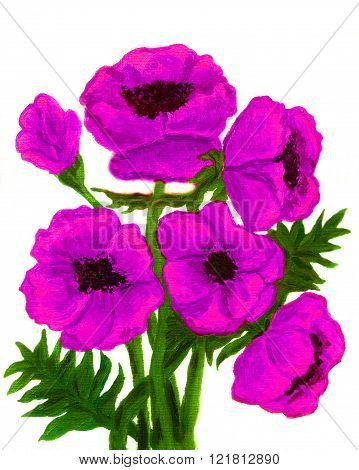 Hand painted picture oil painting pink poppies on white background vertical.