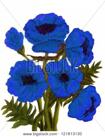 Hand painted picture oil paintingblue poppies on white background vertical.