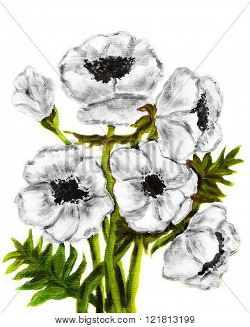Hand painted picture oil painting white poppies on white background vertical.