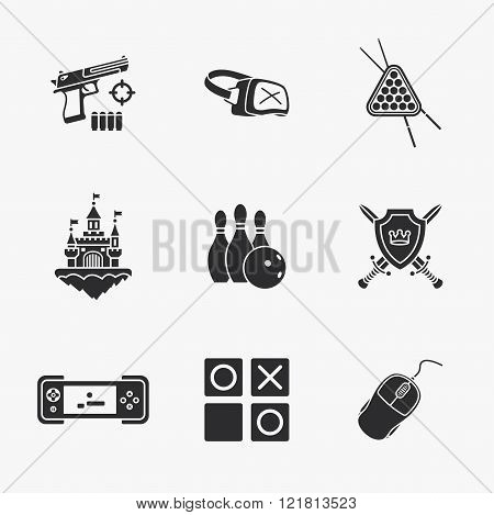 nine flat game icons
