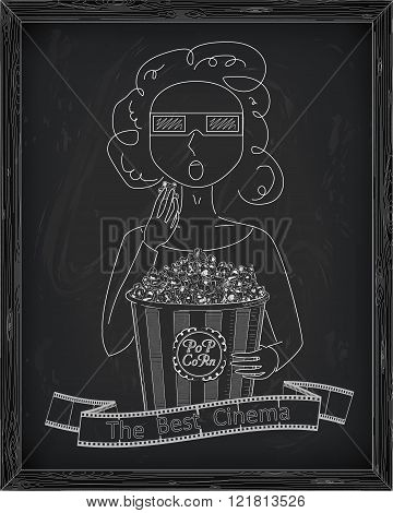 Girl In 3D Glasses Eating Delicious Popcorn From A Big  Striped Carton Box