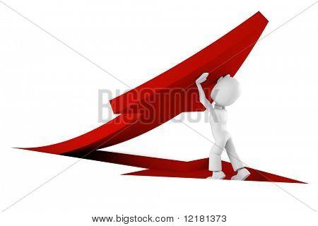 3D hombre empujando una flecha roja de la tierra