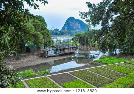 China. Peasant Home And Garden On The River Bank