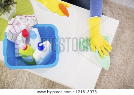 Close up of cleaning chemical products