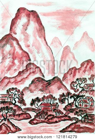 Hand painted picture watercolours in traditions of old Chinese art mixed with individual style landscape with mountains in red colour.