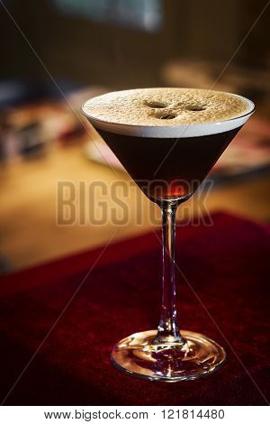 Espresso Coffee Martini Cocktail Drink In Bar