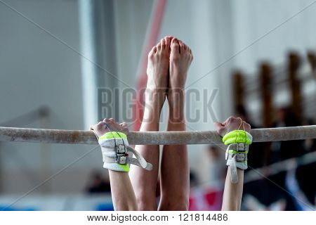 hands and feet young girl gymnast