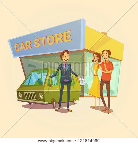 Car Dealer And Clients Concept