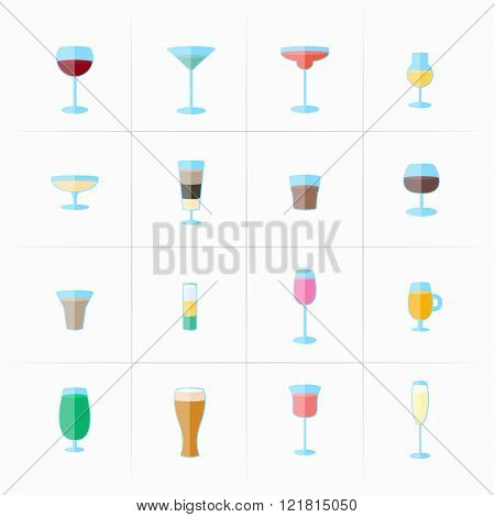 Drink Glass Icons Set
