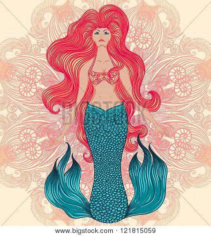Mermaid with beautiful hair over ornate mandala. Tattoo art. Banner, invitation,card, scrap booking, t-shirt, bag, postcard, poster. Vintage highly detailed colorful hand drawn vector illustration