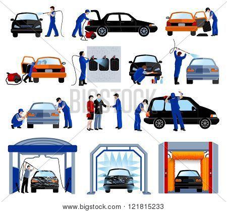 Car Wash Service Flat Pictograms Set