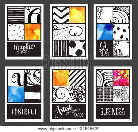 Set of Vintage Graphic Cards - Hand drawn hipster collages and textures made with ink and watercolor. Abstract retro patterns for banners, placards, posters and brochure designs