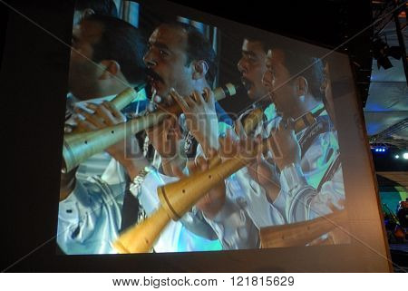 ANKARA/TURKEY-JUNE 8: Folk music horn team at the Turkish Radio and Television-TRT's TV screen during the