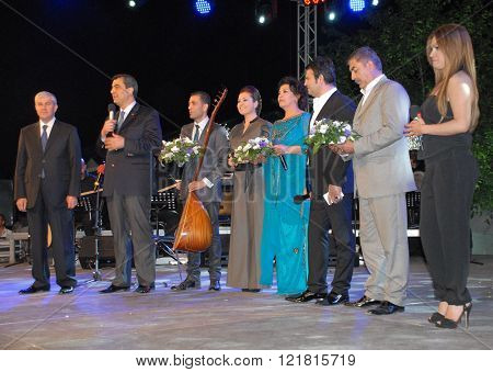 ANKARA/TURKEY-JUNE 8: High Officials and Turkish Radio and Television-TRT's folk music singers at the stage during the