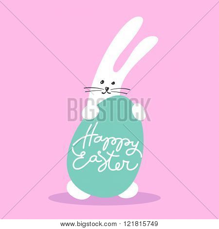 Easter rabbit with egg. Easter greeting card with rabbit. Easter Bunny and easter egg. Vector illustration.