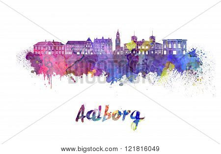Aalborg Skyline In Watercolor