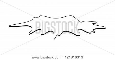Puddle Silhouette, Black Substance Spill. Stain, Plash, Drop. Vector Illustration Isolated On The Wh
