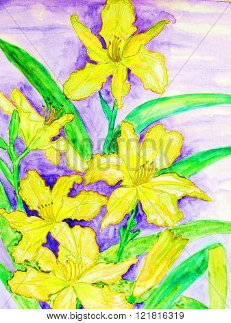 painting in watercolours, yellow daily lilies, vertical.