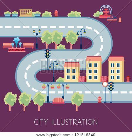 City Street Schema Abstract Flat Banner