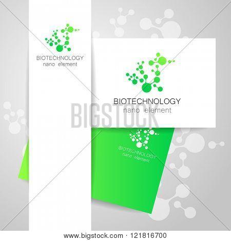 Biotechnology. Symbol molecule. Vector logo. Nanotechnology development. Presentation of corporate identity for the medical industry, science, modern technologies.