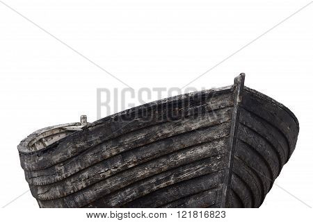 Horizontal front view of an old fishing wood boat with rusted nails isolated on white background