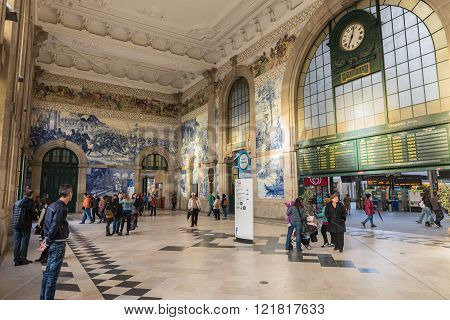 The Sao Bento Railway Station In Porto City