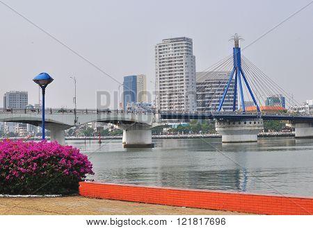 DA NANG VIETNAM - MARCH 19: View of Da Nang city centre Vietnam on March 19 2015. Da Nang is the third largest city of Vietnam.