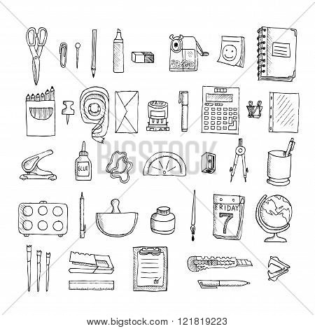 Set  of stationery. Doodle. Isolated on a white background.