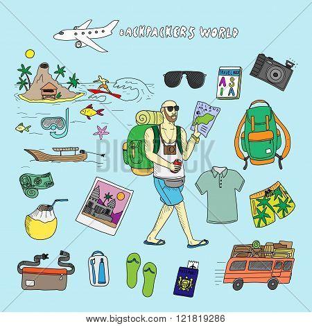 Backpackers world. Travel. Doodle set in vector isolated on a light blue background.
