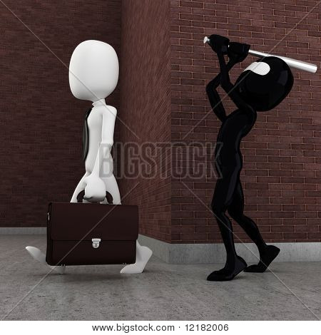 3d man evil criminal robbing a business man