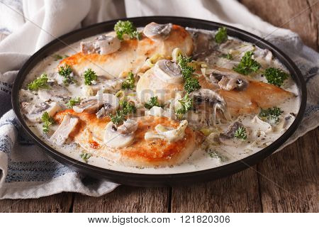 Chicken With Mushrooms And Leek In A Creamy Sauce Close-up