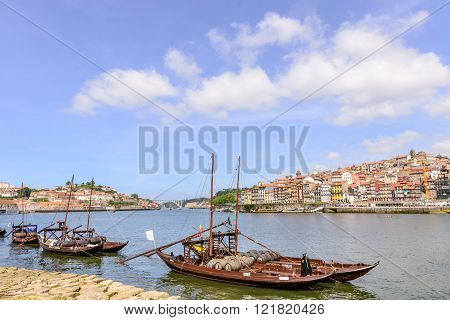 Porto With The Traditional Boats With Wine Barrels