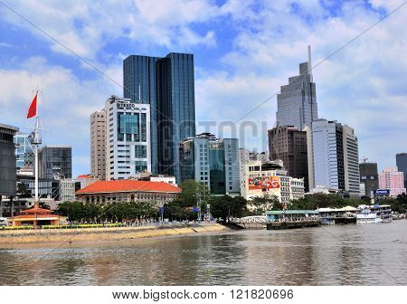 HO CHI MINH VIETNAM - MARCH 8: View of a business quarter of Ho Chi Minh city on March 8 2015. Ho Chi Minh is the secord largest city of Vietnam.