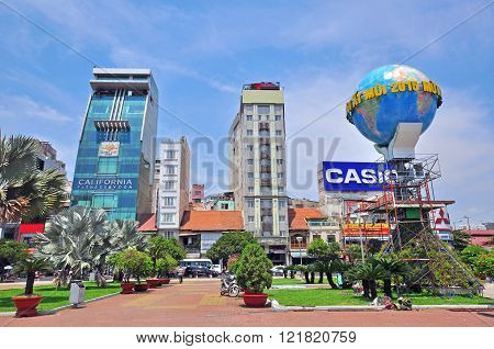 HO CHI MINH VIETNAM - MARCH 6: View of a buisness quarter of Ho Chi Minh city on March 6 2015. Ho Chi Minh is the secord largest city of Vietnam.