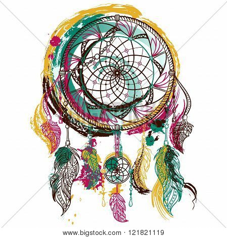 Dream catcher with ornament. Tattoo art. Hand drawn grunge style art. Colorful retro banner, card, scrap booking, t-shirt, bag, print, poster.Highly detailed vintage hand drawn vector illustration