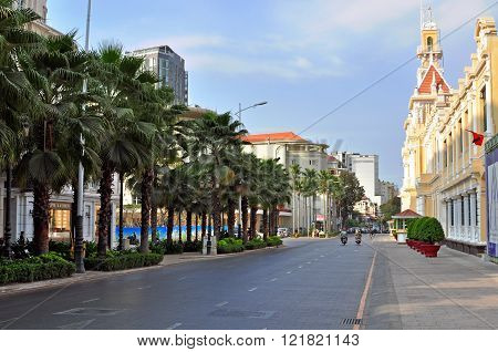 HO CHI MINH VIETNAM - MARCH 8: View of the street in Ho Chi Minh city on March 8 2015. Ho Chi Minh is the secord largest city of Vietnam.