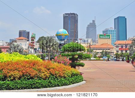 HO CHI MINH VIETNAM - MARCH 9: View of square in Ho Chi Minh city centre on March 9 2015. Ho Chi Minh is the secord largest city of Vietnam.