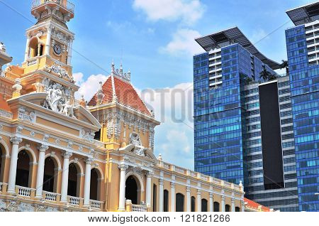 Townhall and skyscrapers of Ho Chi Minh Vietnam