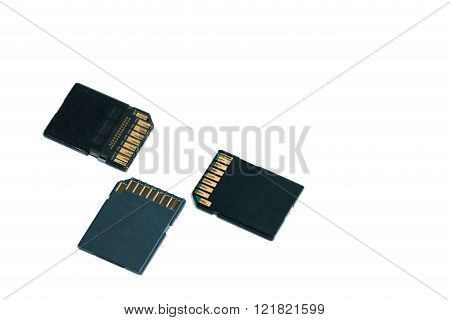 Sd Carn Or Memory Card For Digital Camera And More Isolated On White Background