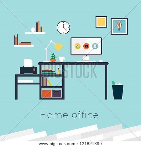 Home Office. Furniture And Accessories. Flat Design Vector Illustration Of Modern Home Office Interi