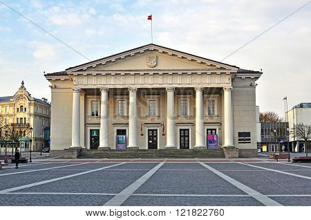 VILNIUS LITHUANIA - APRIL 12: View of the Townhall of Vilnius on April 12 2015. Vilnius is the capital and largest city of Lithuania.