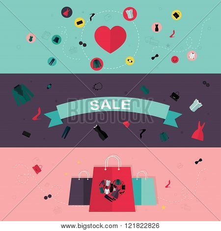 Set Of Flat Design Concept Icons For Beauty And Shopping. Icons For Beauty, Shopping, Fashion And Lo