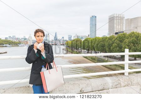 Young Woman Having Lunch In London