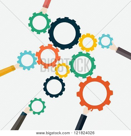 Social Network Vector Concept. Flat Design Illustration For Web Sites Infographic Design With Human