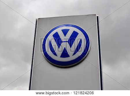 MOSCOW RUSSIA - OCTOBER 10 2015: Logotype of Volkswagen corporation on October 10 2015. Volkswagen is the German automotive manufacturer.