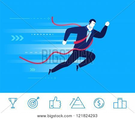 Vector business concept  illustration. Businessman came to the finish line first