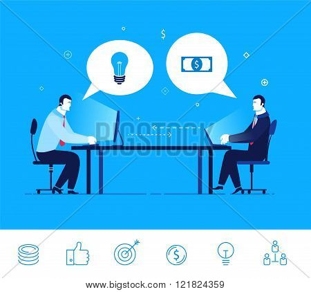 Vector business concept  illustration. Two businessman discuss good deal